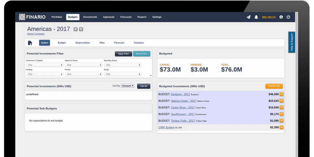 Introducing Finario's capital budgeting solution
