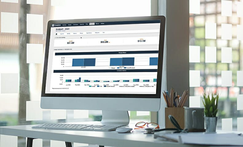 Finario's capital expenditure software application on a monitor