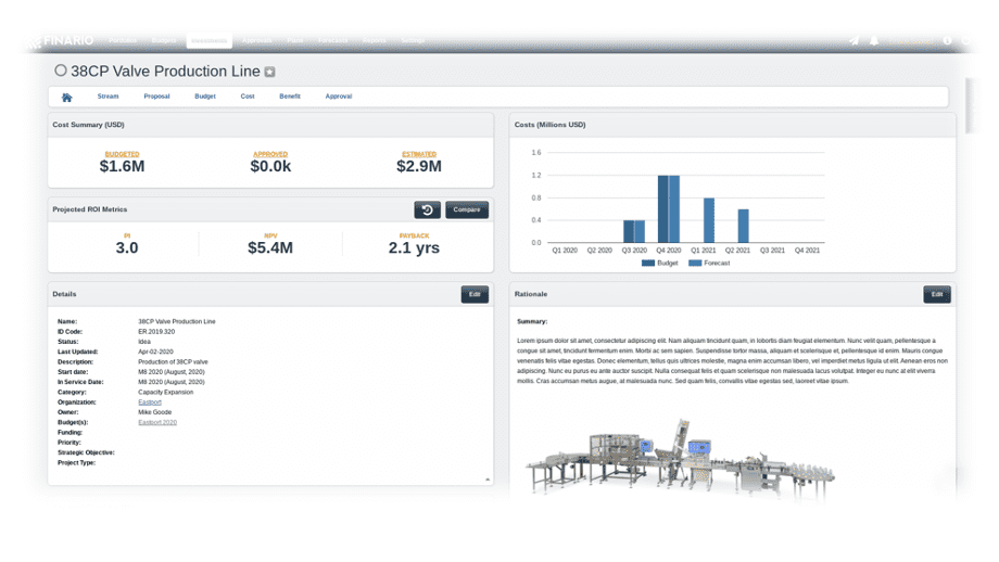 Capex planning & management software to build better business cases