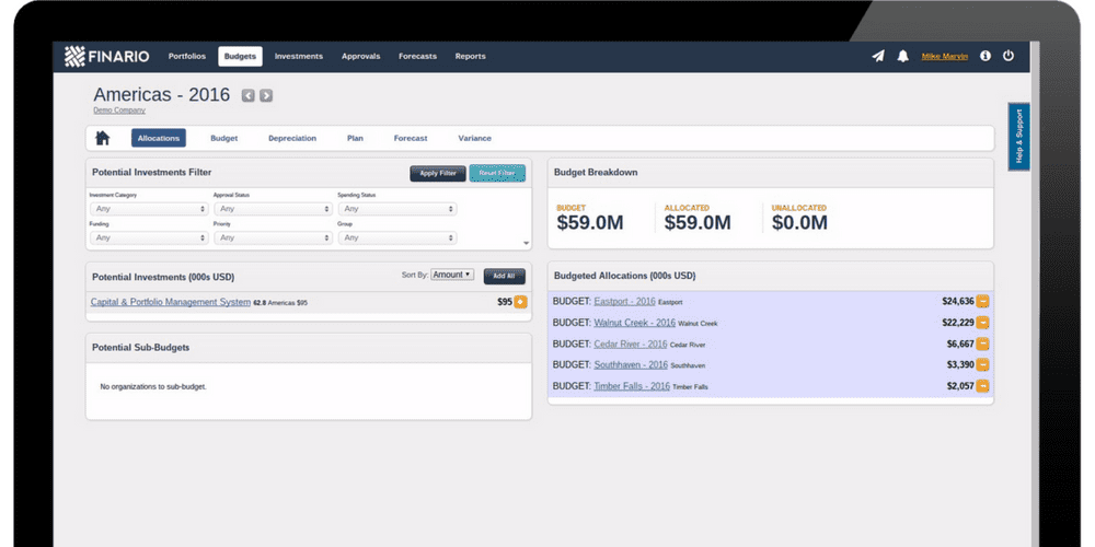 Finario's capital budgeting application provides real-time visibility