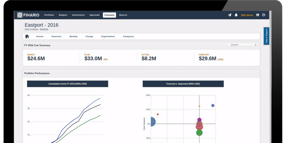 Finario offers cloud-based capital project forecasting